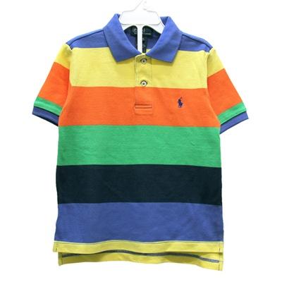 Ralph Lauren 小童小馬五彩寬橫條短袖POLO衫-藍黃橘綠(4/4T)