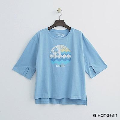 Hang Ten - 女裝 - 五分袖擺開衩甜心上衣-藍色