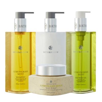 Bath & Bloom 全方位香氛潔淨套組-檸檬草薄荷 (洗髮/潤髮/沐浴精/去角質)