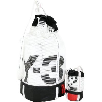 Y-3 Icon Gym Sack 網眼帆布尼龍筒狀運動後背包(白色)