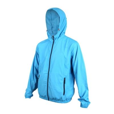 SOFO 男抗UV風衣外套-連帽外套 防風 慢跑 路跑 水藍