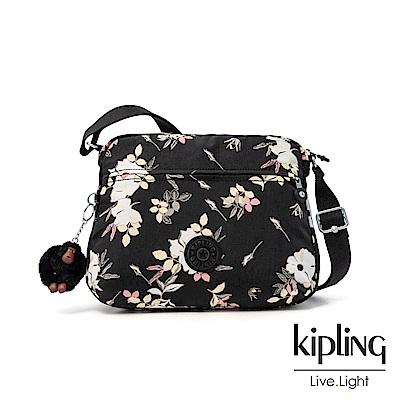 Kipling 沉靜黑浪漫花卉多拉鍊實用側背包-CORA M