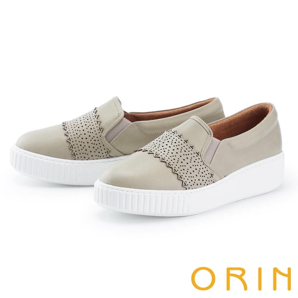 ORIN 鞋頭造型真皮厚底 女 休閒鞋 灰綠