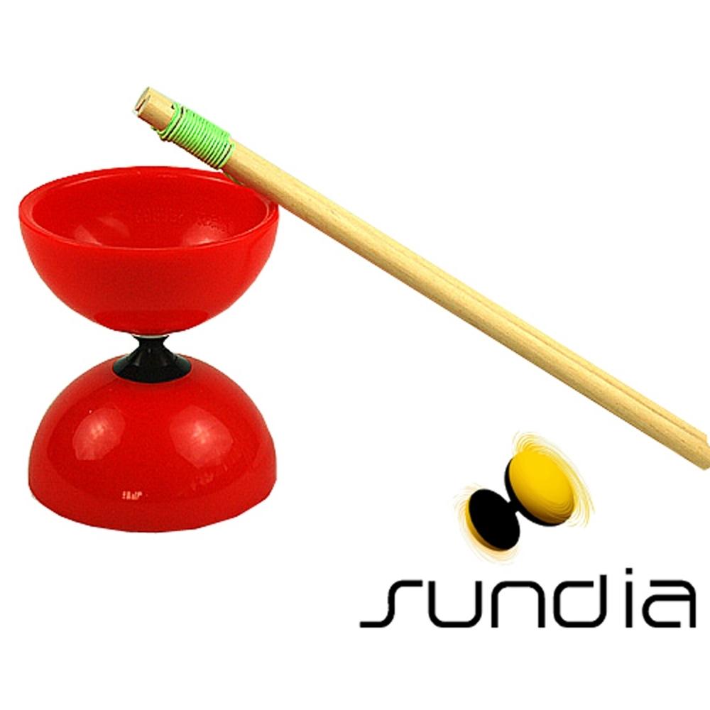 三鈴SUNDIA-台灣製造FLY長軸培鈴扯鈴(附木棍、扯鈴專用繩)紅色