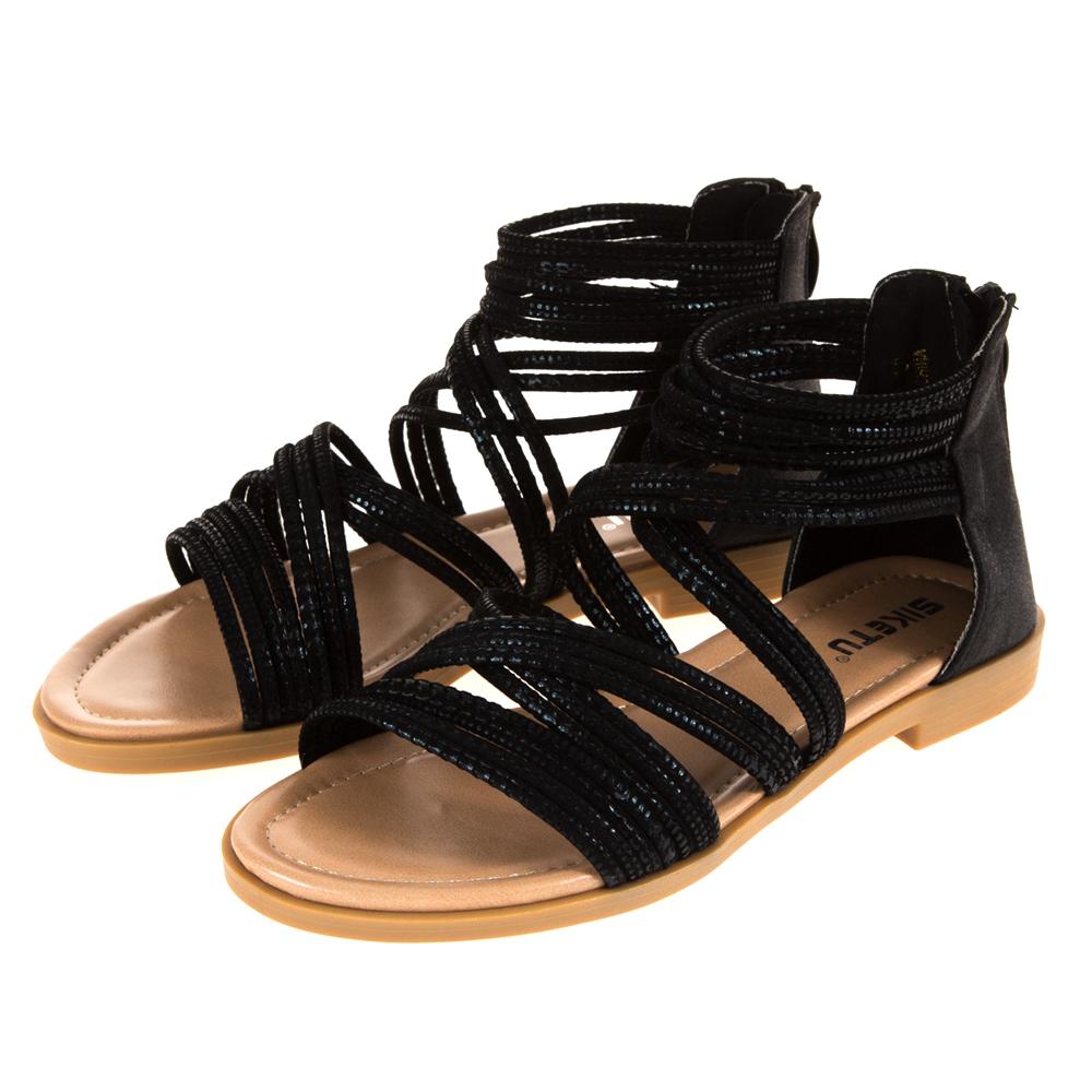 JMS-羅馬線條交叉環踝平底涼鞋-黑色