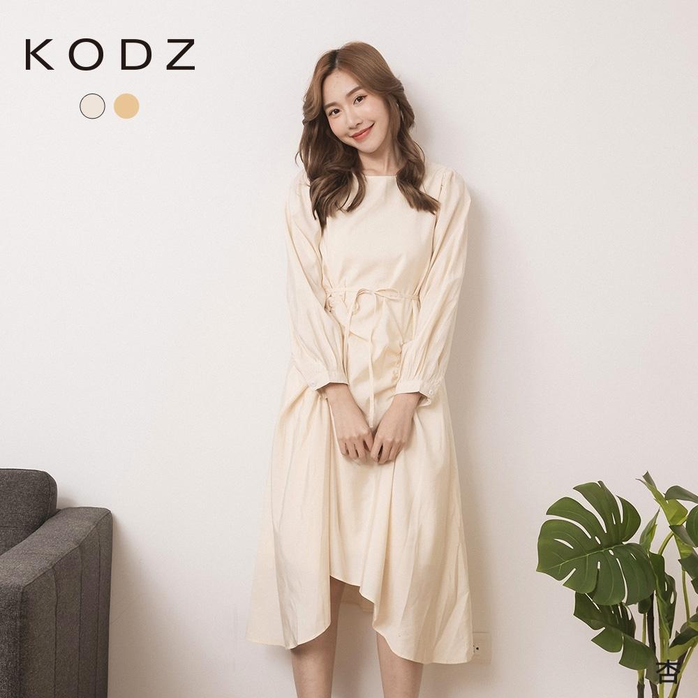 東京著衣-KODZ 氣質婉約抓皺腰綁帶不規則洋裝(共二色)