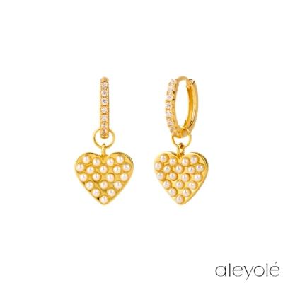 ALEYOLE 愛戀珍珠925純銀鍍18K金耳環 PEARLY HEART GOLD