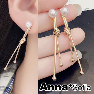 AnnaSofia 珠綴線棒綁結 後掛墬耳針耳環(金系)