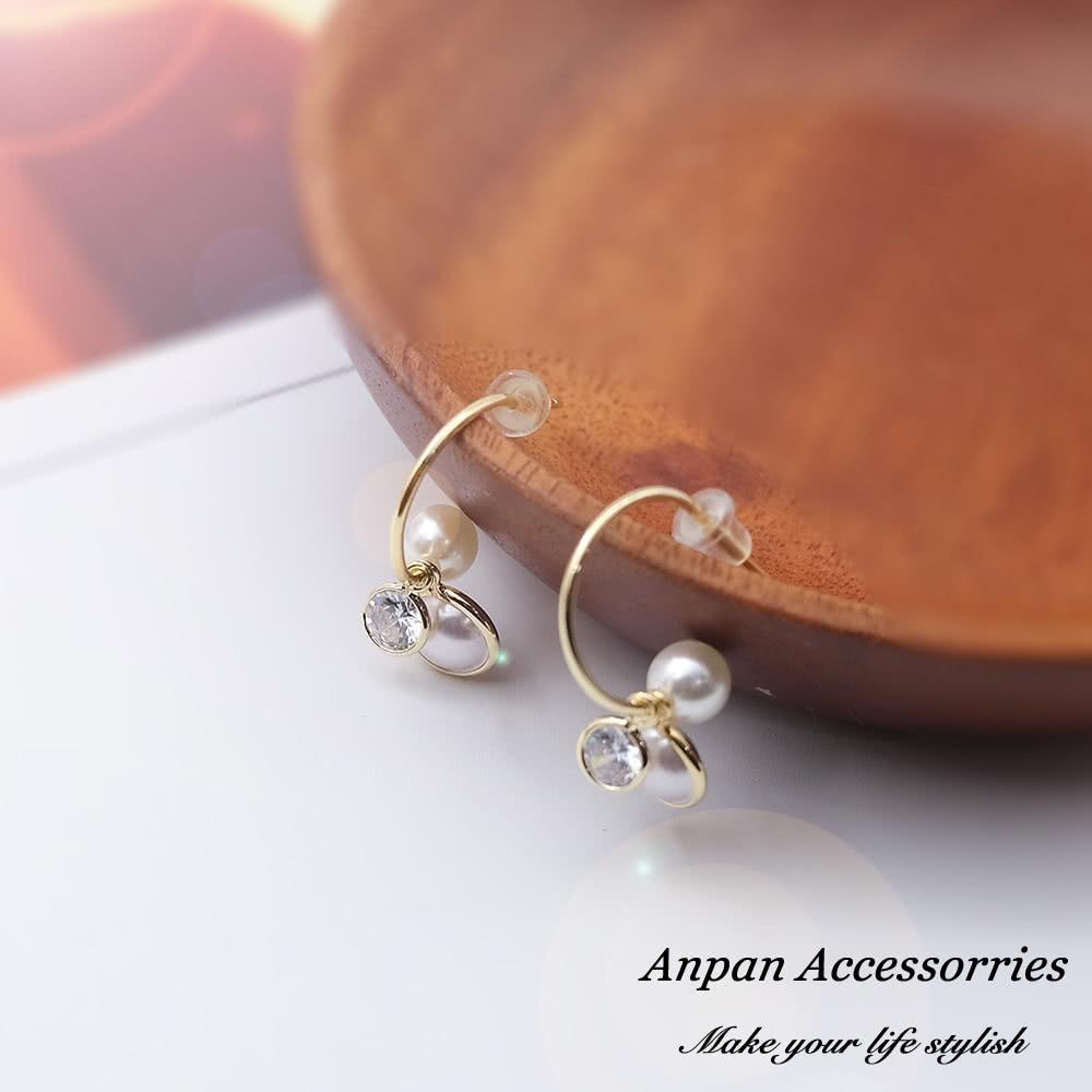 【Anpan 愛扮】韓東大門NYU移動式鑽石珍珠925銀針耳釘式耳環