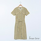 beartwo 復古直條紋腰帶短袖V領洋裝(二色)
