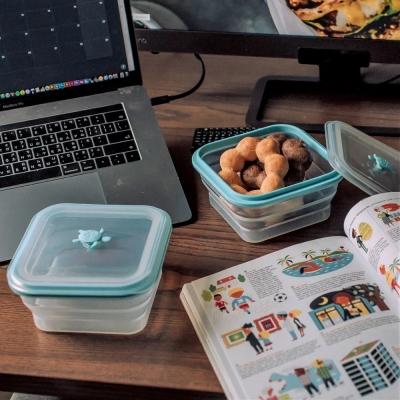 仁舟淨塑 矽密盒正方形900ml-藍矽龜(快)