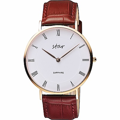 STAR 時代 城市情人羅馬石英手錶-白x咖啡色錶帶/41mm