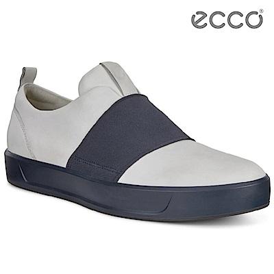 ECCO SOFT 8 MEN S 簡約撞色鬆緊帶設計休閒鞋 男-白/藍