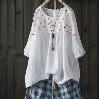 七分袖碎花刺繡苧麻襯衫棉麻蝙蝠上衣-設計所在