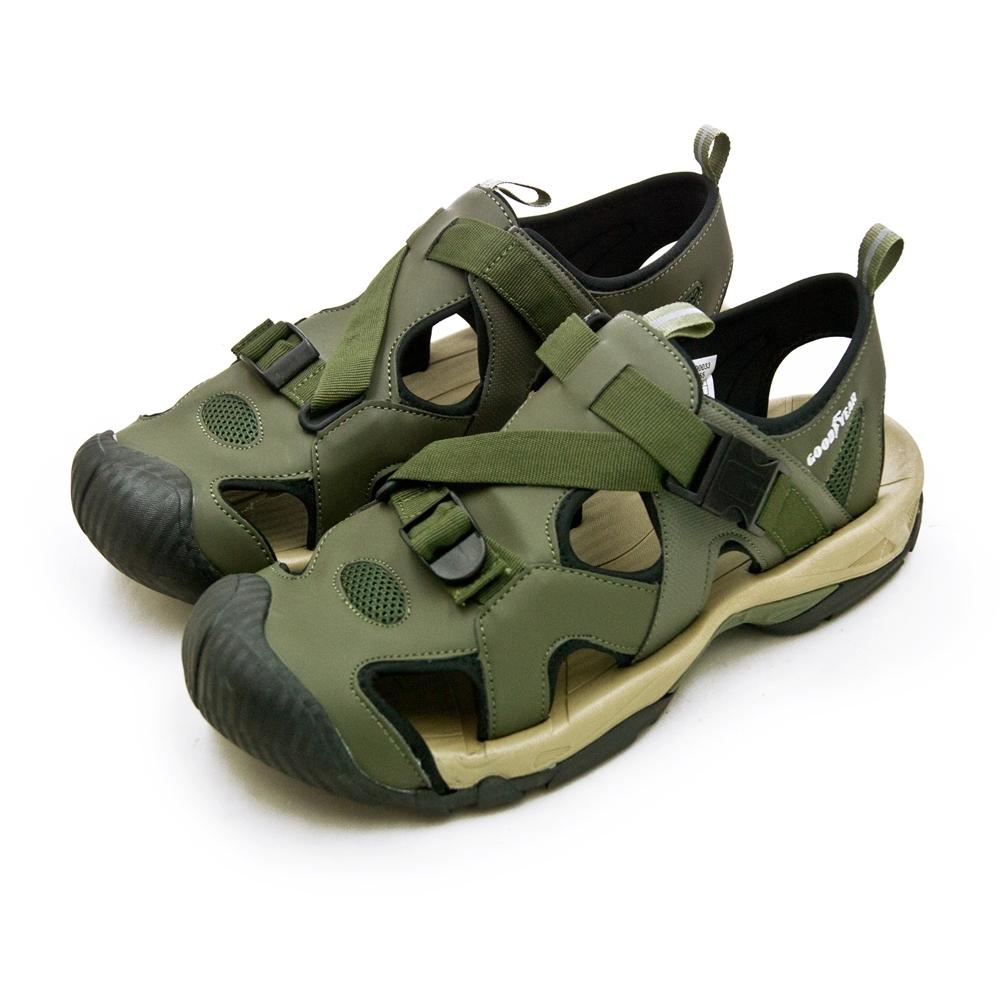 GOODYEAR 固特異 專業戶外踏青旅遊護趾織帶運動涼鞋 軍綠棕 93655