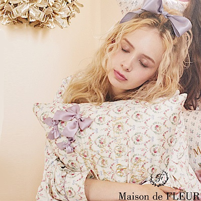 Maison de FLEUR 滿板碎花蝴蝶結絲帶枕頭套