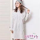 betty's貝蒂思 格紋半開襟拉鍊洋裝(白色)