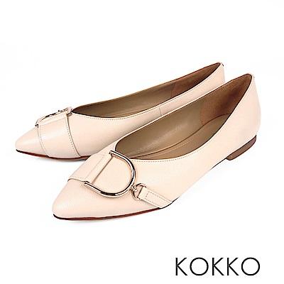 KOKKO - 極度舒適尖頭V口羊皮平底鞋 - 牛奶米