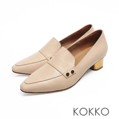 KOKKO - 小方頭柔軟感羊皮金屬粗跟鞋 - 米