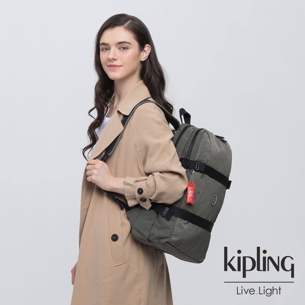 Kipling 率性深褐軍綠前後雙層收納長形後背包-TAMIKO