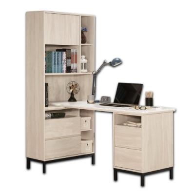 Boden-妮絲5尺多功能仿石面L型書桌/書櫃型工作桌/辦公桌-151x80x180cm