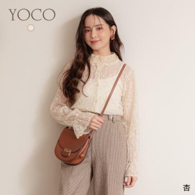 東京著衣-YOCO 窈窕淑女鏤空蕾絲雕花排釦喇叭袖上衣