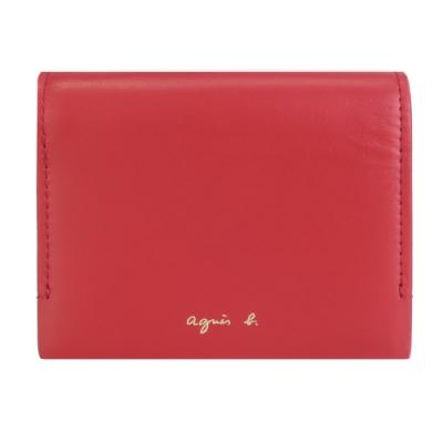agnes b.燙金LOGO三折壓釦皮革短夾(附錢袋)-紅