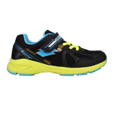 LOTTO 男女大童競速避震跑鞋-慢跑 運動 魔鬼氈 反光 LT0AKR2351 黑藍黃銀