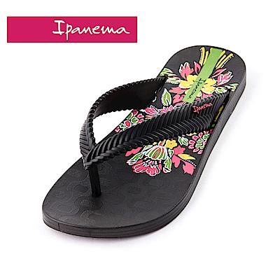 IPANEMA NATURE PRINT 花卉系列  人字拖鞋(女款)-黑底