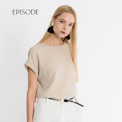 EPISODE - 簡約百搭鑽飾設計短袖上衣