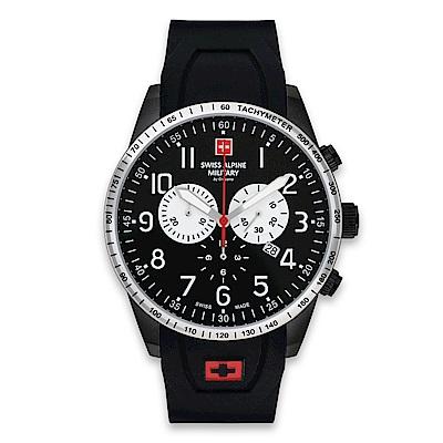 瑞士阿爾卑斯錶S.A.M 狂蜂系列-大黃蜂/黑錶盤/橡膠錶帶/三眼計時/45mm