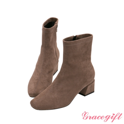 Grace gift-微方頭造型中跟短靴 咖絨布