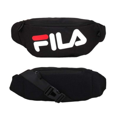 FILA 大LOGO斜跨包-腰包 臀包 側背包 斜背包 慢跑 單車 自行車 BWV-3004-BK 黑白紅