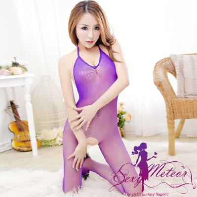 網衣 全尺碼 深V繞頸網洞開襠連身性感睡衣網衣洞洞裝(浪漫紫藍) Sexy Meteor