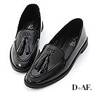 D+AF 英倫風格.小流蘇漆皮尖頭樂福鞋*黑