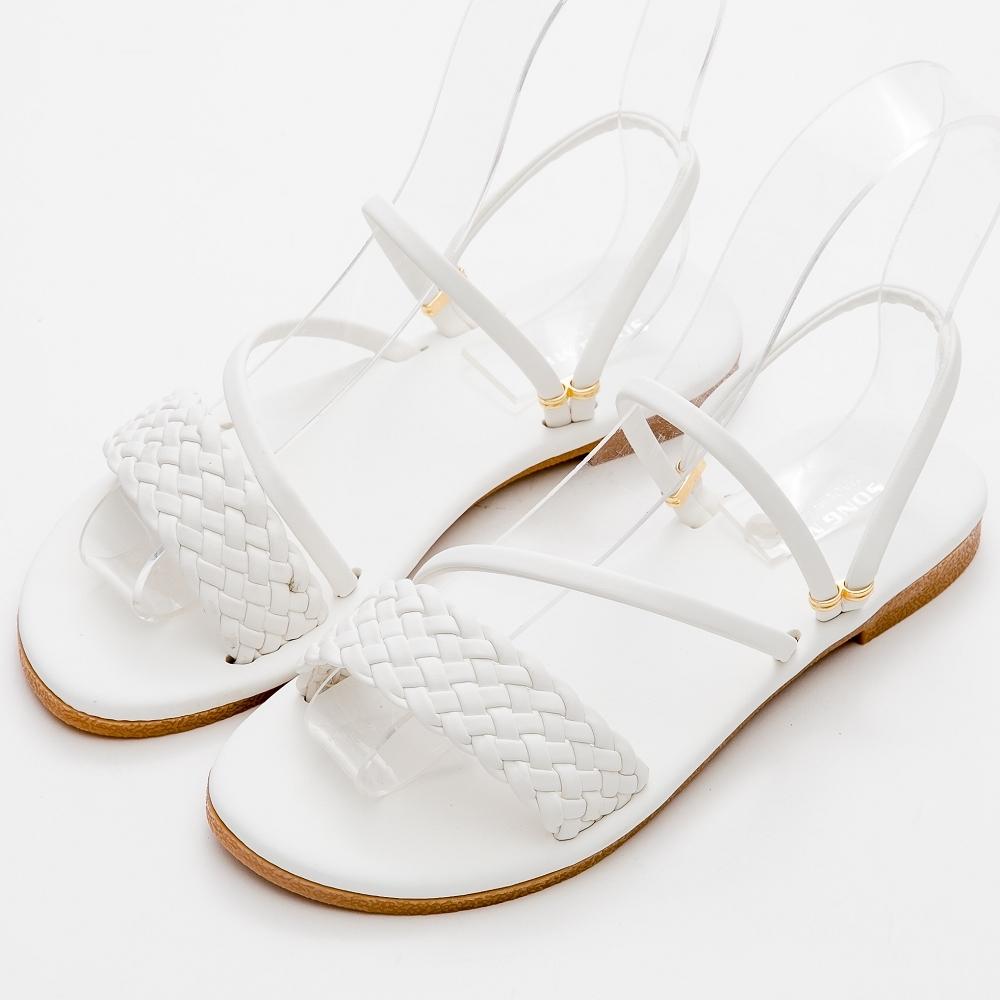 River&Moon涼鞋 台灣製一字寬版編織2WAY平底涼拖鞋 白