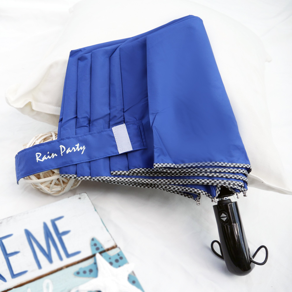 好傘王 自動傘系-英式格紋大大傘(寶藍色)