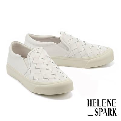 休閒鞋 HELENE SPARK 率性日常全真皮編織厚底休閒鞋-白