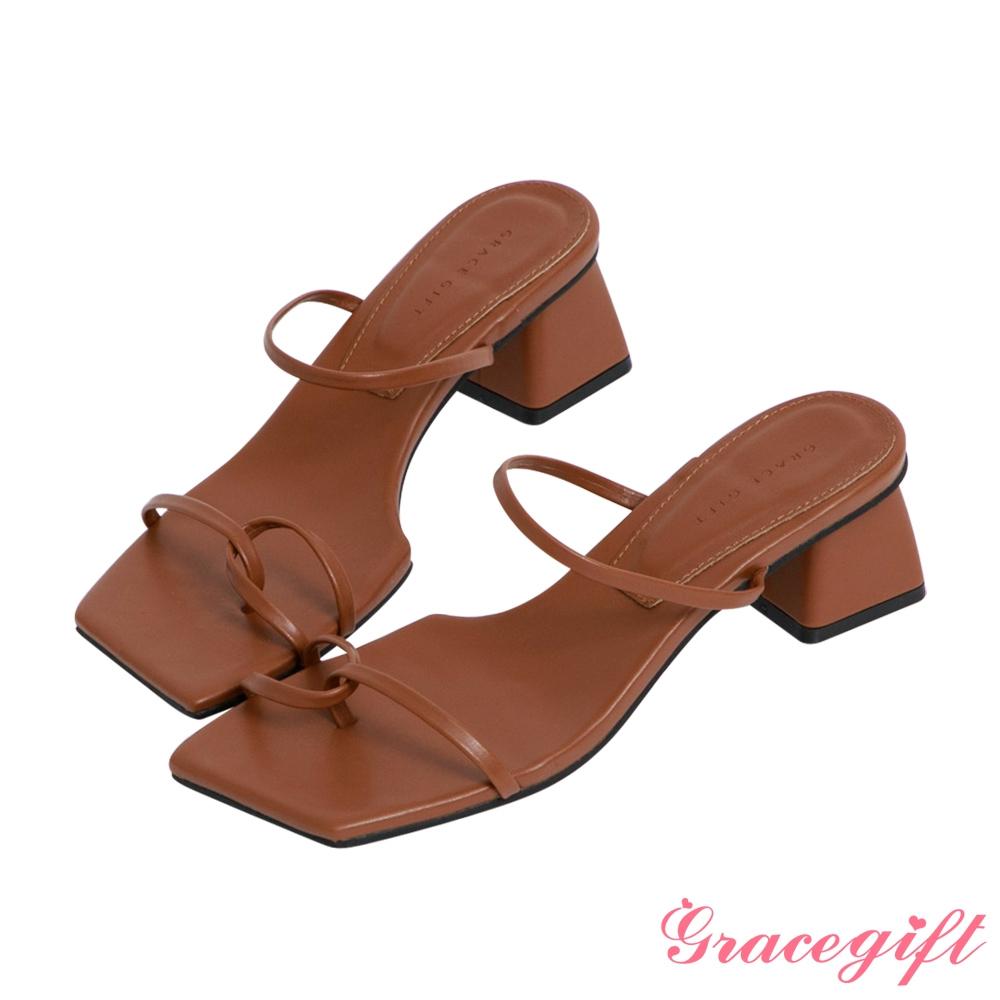 Grace gift-雙細帶套趾中跟涼拖鞋 深棕