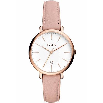 FOSSIL 粉紅攻略氣質皮革女錶(ES4369)-36mm