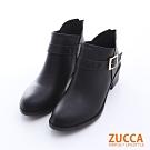 ZUCCA 扣環V領後拉鍊低跟靴-黑色-z6515bk