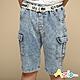 Azio Kids 男童 短褲 側雙口袋牛仔短褲附編織皮帶(藍) product thumbnail 1