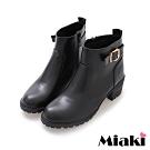 Miaki-短靴經典單扣拉鍊中跟踝靴-黑
