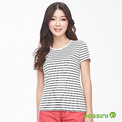 bossini女裝-條紋彈性圓領T恤01灰白