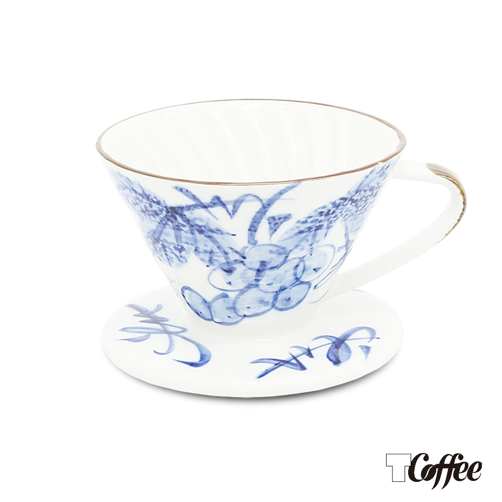 TCoffee MILA-日式手繪咖啡濾杯101藍染葡萄