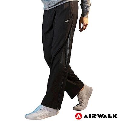 【AIRWALK】男款拼接風衣長褲-黑