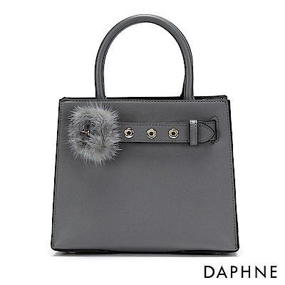 達芙妮DAPHNE-毛毛皮帶扣手提方包-灰