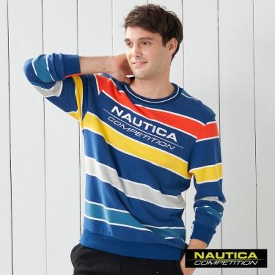 Nautica COMPETITION彩色條紋長袖大學T恤- 藍色