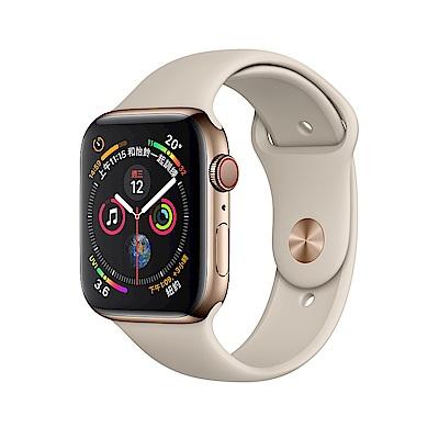 Apple Watch Series4 LTE 44mm金色不鏽鋼錶殼搭配石色運動型錶帶