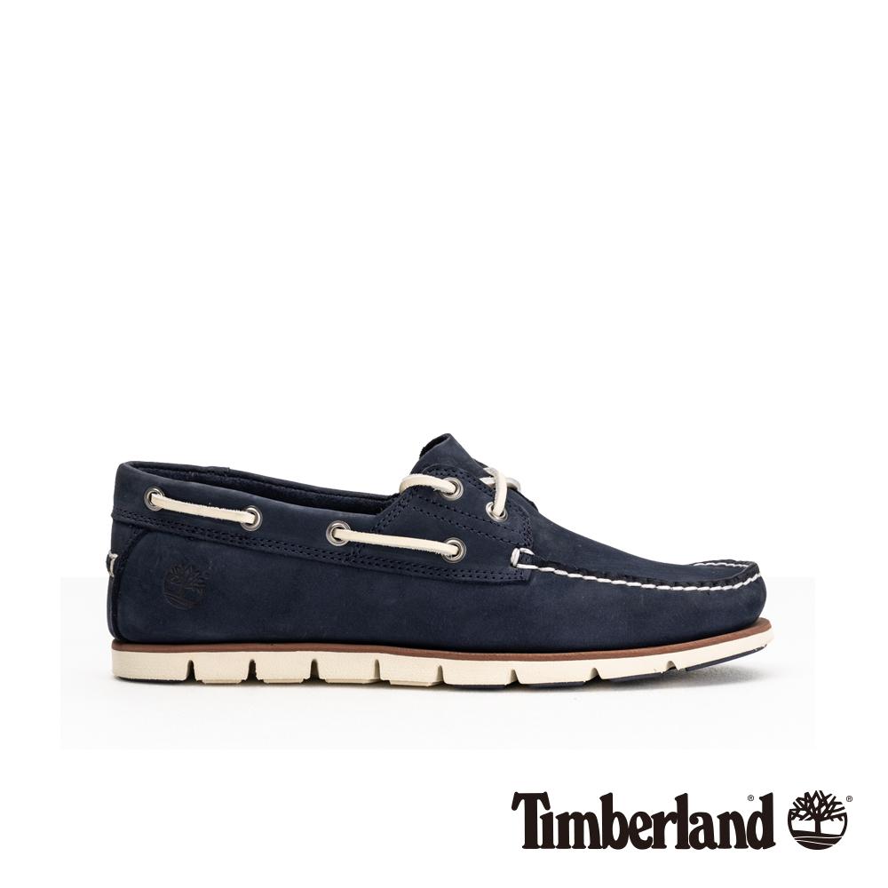 Timberland 男款藍色皮革休閒兩孔帆船鞋|A2419